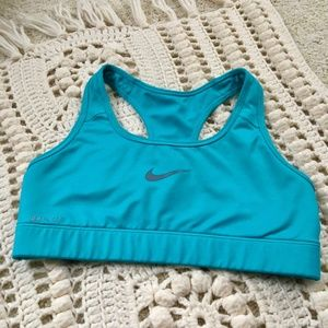 NIKE DRI FIT Teal Turquoise Blue Lined Sports Bra
